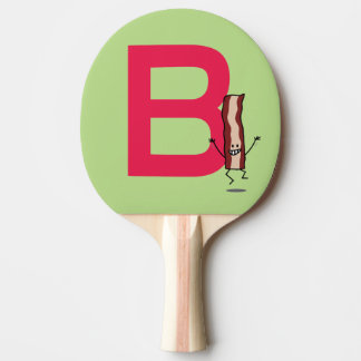 B is for Bacon happy jumping strip abc letter Ping Pong Paddle