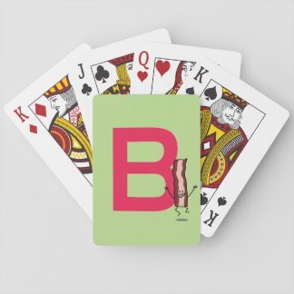 B is for Bacon happy jumping strip abc letter Playing Cards