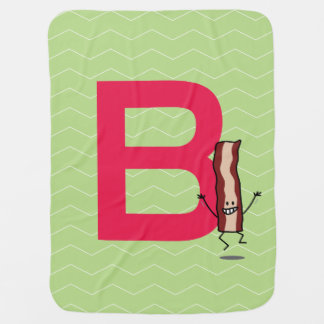 B is for Bacon happy jumping strip abc letter Receiving Blanket