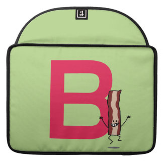 B is for Bacon happy jumping strip abc letter Sleeve For MacBooks