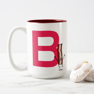 B is for Bacon happy jumping strip abc letter Two-Tone Coffee Mug