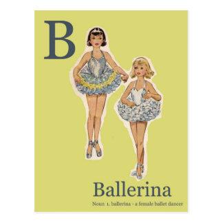 B is for Ballerina Fashion Alphabet Postcard