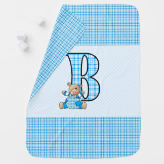 B is for Blue Bear and Little Boys in Plaid Swaddle Blanket