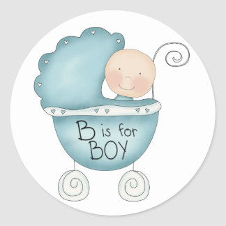 B is for Boy Blue Baby Buggy Round Sticker
