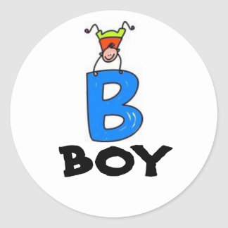 """B"" is for BOY Classic Round Sticker"