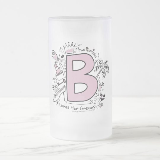 B is for BRIDE PINK Frosted Glass Beer Mug