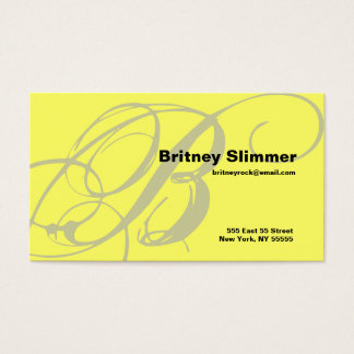 B Letter Alphabet Business Card Yellow
