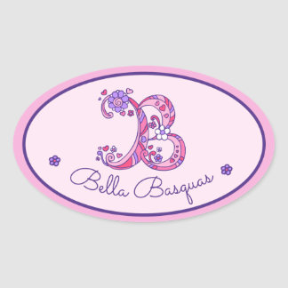 B letter monogram custom name id pink stickers