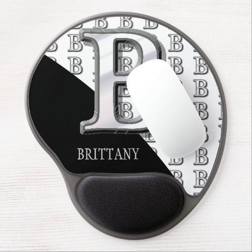 B - Modern Metallic Monogram (Silver) Gel Mousepad