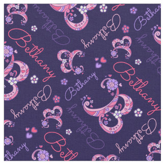 B monogram and personalized name Bethany fabric