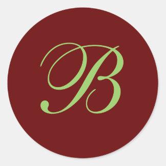 B Monogram Envelope Seal Round Sticker