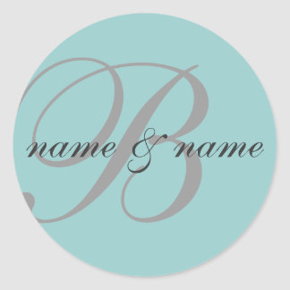 """B"" monogram label - personalize Round Sticker"