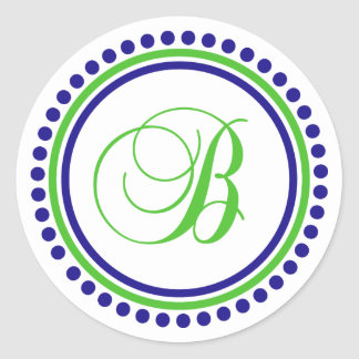 B Monogram (Navy Blue / Lime Green Dot Circle) Classic Round Sticker