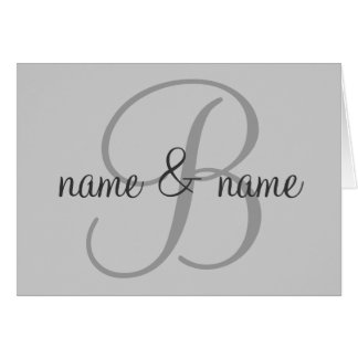 """""""B"""" monogram note card - personalize first names"""
