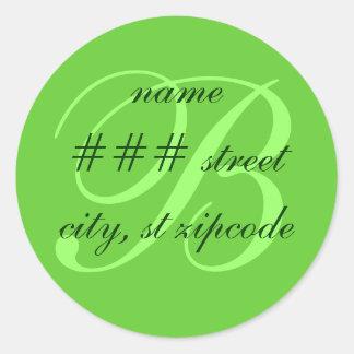 B monogram return address label - personalize info round sticker