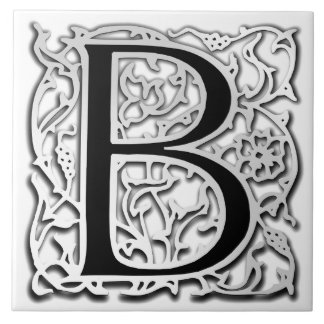 "B Monogram ""Silver Besque"" Ceramic Tile"