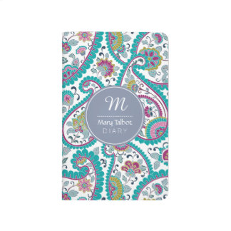 B Persian  Boteh Paisley Pattern Monogram Pocket J Journals
