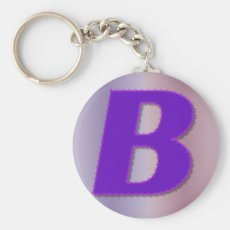B purple monogram keychain