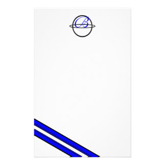 B Ringed Monogram Blue Striped Stationery