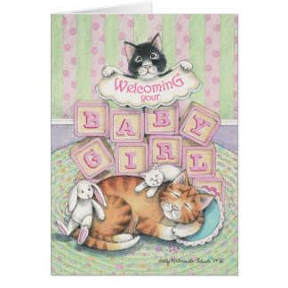 B & T #52A Baby Girl Welcome Note Card
