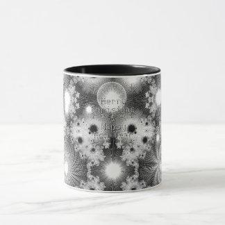 B & W Abstract Christmas Stars Fractals Pattern Mug