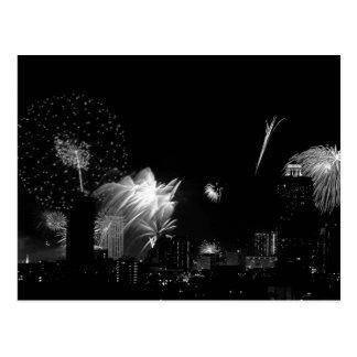 B&W Bangkok fireworks Postcard
