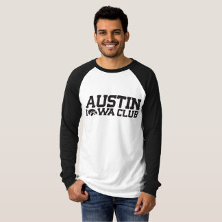 B/W Baseball Shirt with Austin Iowa Club logo