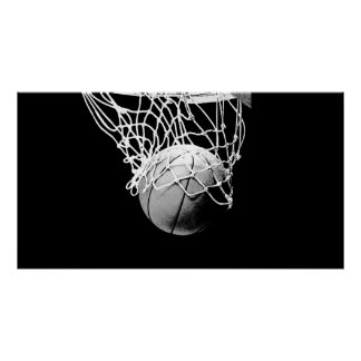B&W Basketball Ball & Net Print Poster