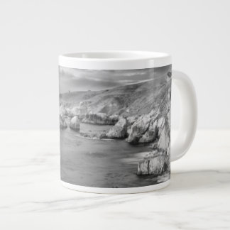 B&W beach coastline, California Large Coffee Mug