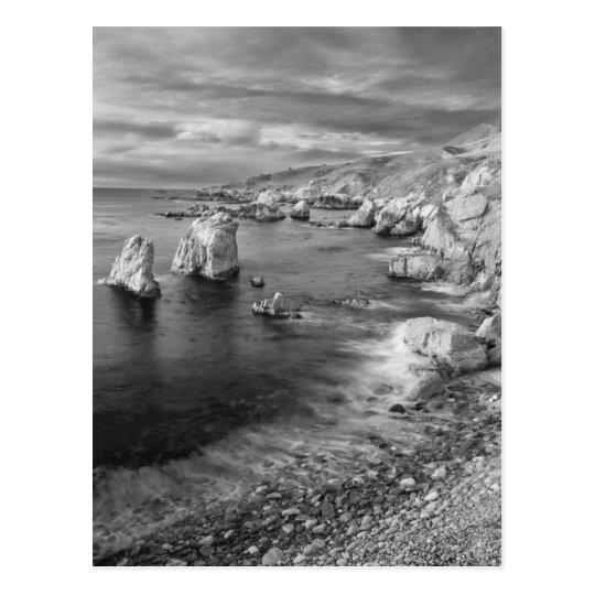 B&W beach coastline, California Postcard