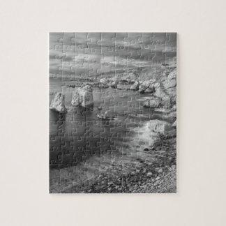B&W beach coastline, California Puzzles