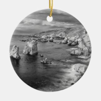 B&W beach coastline, California Round Ceramic Ornament