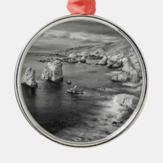B&W beach coastline, California Silver-Colored Round Ornament