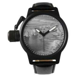 B&W beach coastline, California Wrist Watches