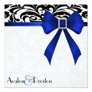 B&W Brocade Blue Bow Damask Wedding Invitation