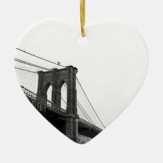 B&W Brooklyn Bridge Ceramic Heart Ornament