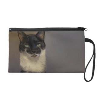 B&W Cat Wristlet Purse