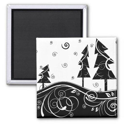 b&w Christmas trees Magnet