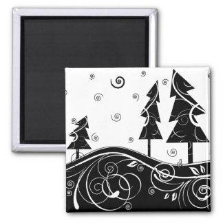 b&w Christmas trees Square Magnet