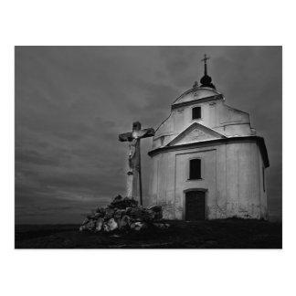 B&w church postcard