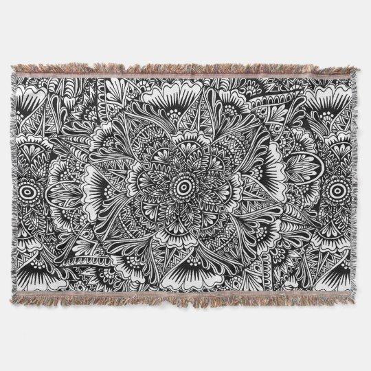 B&W Circular Mandala Design Throw Blanket