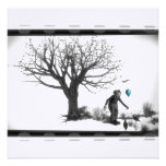 B&W Clown - Turquoise Balloon - Old Tree - Ravens
