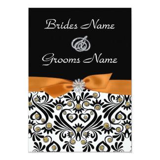 B & W Damask with Burnt Orange Wedding Invitation