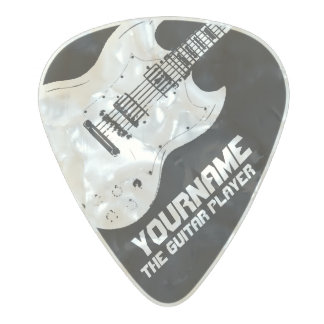 b&w electric-guitar with your name & the band pearl celluloid guitar pick
