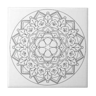 B&W Floral Mandala 060517_1 Tile