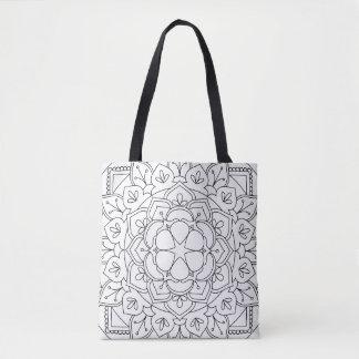 B&W Floral Mandala 060517_1 Tote Bag