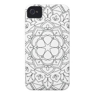 B&W Floral Mandala 060517_1r iPhone 4 Case-Mate Case