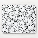 b&w floral pattern mouse pad