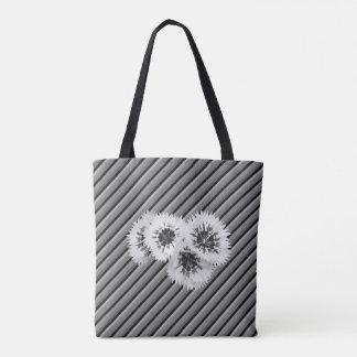 B & W Floral Striped Monogram Wedding Bag