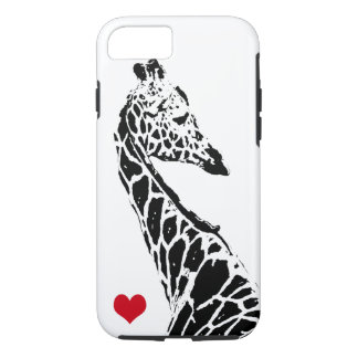 B/W Giraffe Silhouette with Red Heart iPhone 7 Case